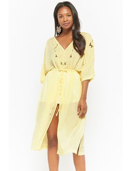 Floral Cutout Button Front Dress by Forever 21