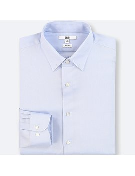 Men Easy Care Oxford Stretch Slim Fit Long Sleeve Shirt (No Pocket) by Uniqlo