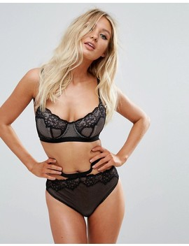 Asos Fuller Bust Caggie Fishnet & Lace Underwire Bra by Asos Collection