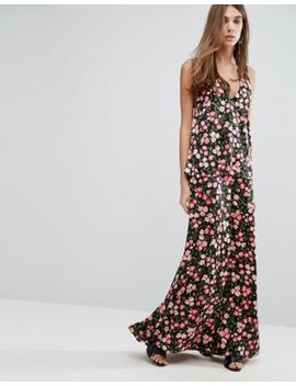 Warehouse Cherry Blossom Printed Cross Back Maxi Dress by Warehouse