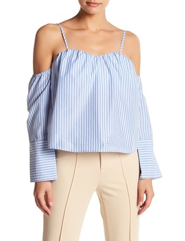 Cold Shoulder Striped Blouse by A.Calin