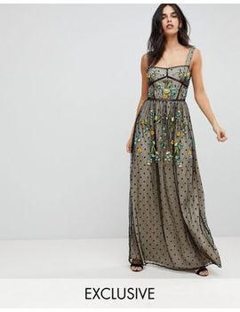 Frock And Frill Premium Folk Embroidered Structured Strap Maxi Dress by  Frock And Frill