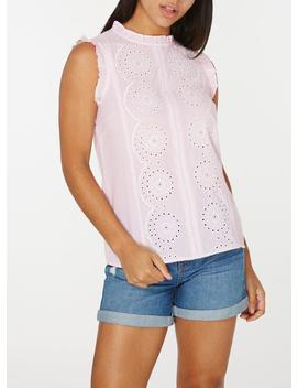 Pink Broderie Striped Shell Top by Dorothy Perkins