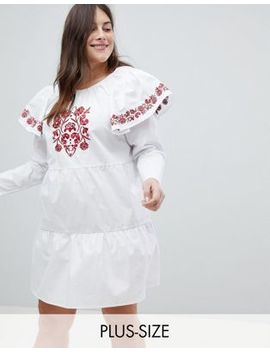 Fashion Union Plus Embroidered Smock Dress With Exaggerated Sleeves by Fashion Union Plus