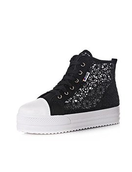 Gaorui Womens Student Lace Round Toe Hollow Platform Wedge Shoe High Top Casual Sneaker by Gaorui