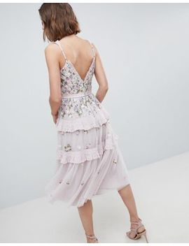 Needle & Thread Layered Midi Dress With Embroidery by Needle & Thread