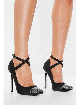 Black Embellished Toe Cap Stiletto Pumps by Missguided