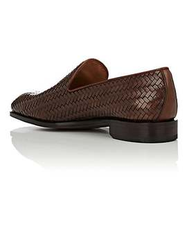 Woven Leather Venetian Loafers by Carmina Shoemaker