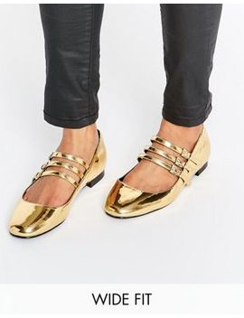 Asos Lee Wide Fit Square Toe Ballet Flats by Asos Collection