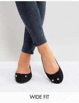 New Look Wide Fit Ballet Pump With Gem Detail by New Look