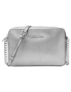 Michael Michael Kors Jet Set Travel Leather East / West Cross Body Bag, Silver by Michael Kors