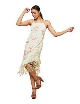 Miss Selfridge   Embroidered Tassel Camisole Slip Dress by Miss Selfridge