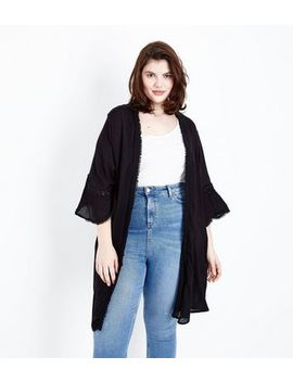 Curves Black Crochet Trim Bell Sleeve Kimono by New Look