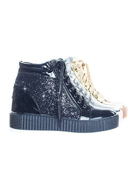 Forever Link Retro Glitter Oxford Lace Up Platform Wedge Creeper, Women Sneaker by Forever Link