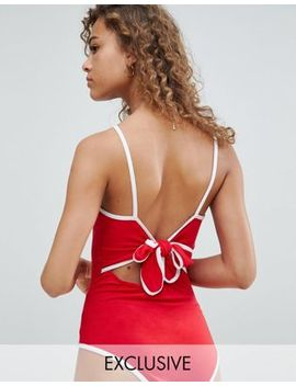 Wednesday's Girl Square Neck Strappy Body With Tie Back And Contrast Binding by Wednesday's Girl