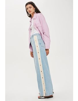 Moto Bleach Popper Side Stripe Wide Jeans by Topshop