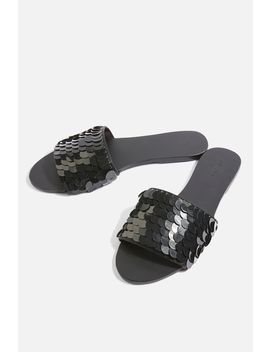 Black Sequin Mules by Topshop