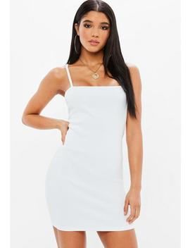White Ribbed Square Neck Strappy Bodycon Dress by Missguided