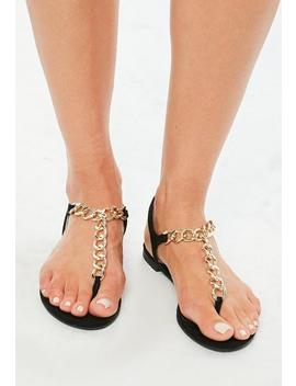 Black Chain T Bar Flat Sandals by Missguided