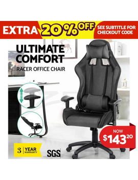Executive Gaming Office Chair Racing Computer Pu Leather Sport Seat Work Racer by Unbranded