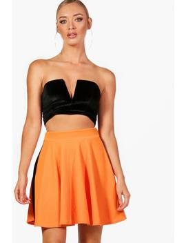 Lara Contrast Side Bright Skater Mini Skirt by Boohoo