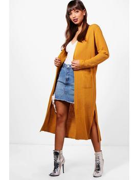 Amanda Half Rib Sleeve Maxi Cardigan by Boohoo