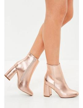 Rose Gold Block Heel Round Toe Ankle Boots by Missguided