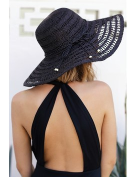 Solta Black Straw Floppy Hat by Lulus