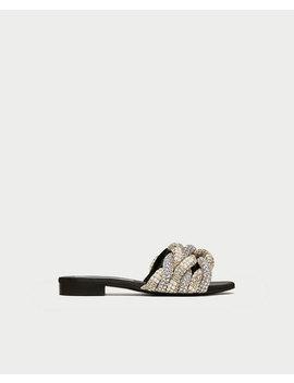 Flat Sandal Med Glitter  Se Alt Sko Dame by Zara