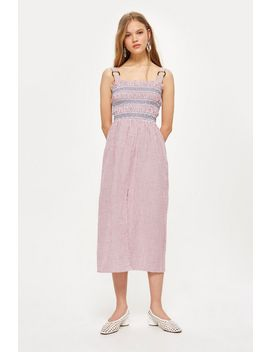 Petite Seersucker Stripe Midi Dress by Topshop