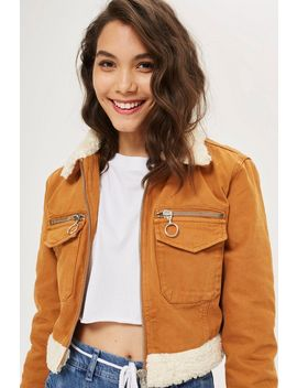 Petite Cropped Denim Borg Jacket by Topshop