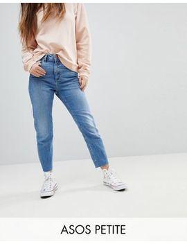 Asos Design Petite – Farleigh – Schmal Geschnittene Mom Jeans Mit Hoher Taille In Mittlerer  Bastina Pretty Bright Waschung by Asos Petite