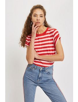 Petite Striped Roll Sleeve T Shirt by Topshop