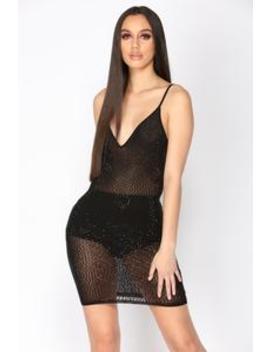 Have A Drink Rhinestone Dress   Black by Fashion Nova