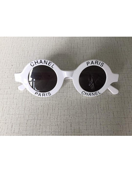 Authentic Retro Unique Festival Chanel Vintage Chanel Logo Round Sunglasses White Circle by Etsy