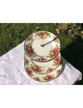 3 Tier Large Old Country Roses Vintage Cake Stand, Royal Albert Old Country Roses , Macaron Stand,  A Stand For That Special Occasion by Etsy