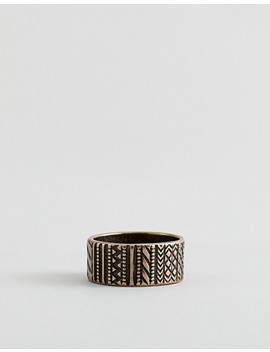Asos Design Aztec Ring In Burnished Gold by Asos