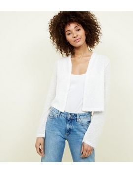 Off White Fluffy Cropped Cardigan by New Look