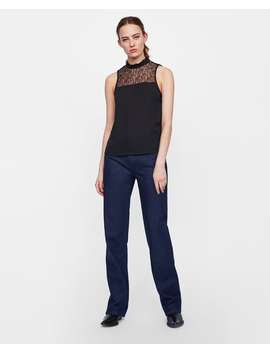 Combined Lace Blouse  Tops Shirts by Zara