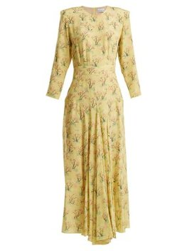 Bracelet Sleeve Acid Tree Print Silk Dress by Raey