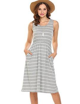 Hount Women's Summer Sleeveless Striped Empire Waist Loose Midi Casual Dress With Pockets by Hount