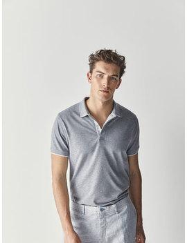 MelanŻowa Teksturowana Koszulka Polo Z PasiastĄ ListwĄ by Massimo Dutti
