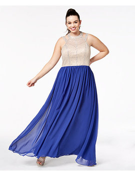 Trendy Plus Size Beaded Gown, Created For Macy's by Say Yes To The Prom