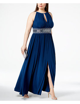 R&M Richards Plus Size Sleeveless Beaded Gown by R & M Richards