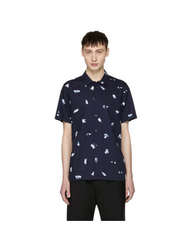 Navy Print Button Up Shirt by Ps By Paul Smith