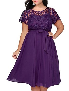 Nemidor Women's Scooped Neckline Floral Lace Top Plus Size Cocktail Party Midi Dress by Nemidor