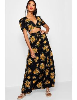 Vic Floral Plunge Maxi Skirt Co Ord Set by Boohoo