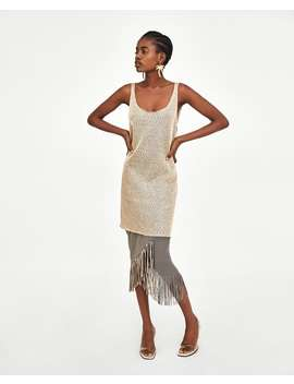 Textured Dress With Sequins  Midi Dresses Trf by Zara