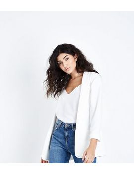 Blazer Blanc Hachuré by New Look