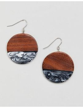 Whistles Wood And Marble Disc Earrings by Whistles